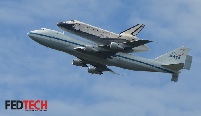 Space Shuttle Discovery Flies Over Washington, DC