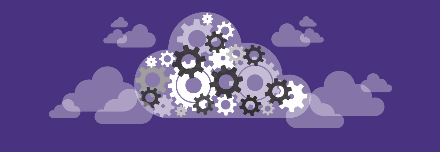 Cloud computing abstract image with gears