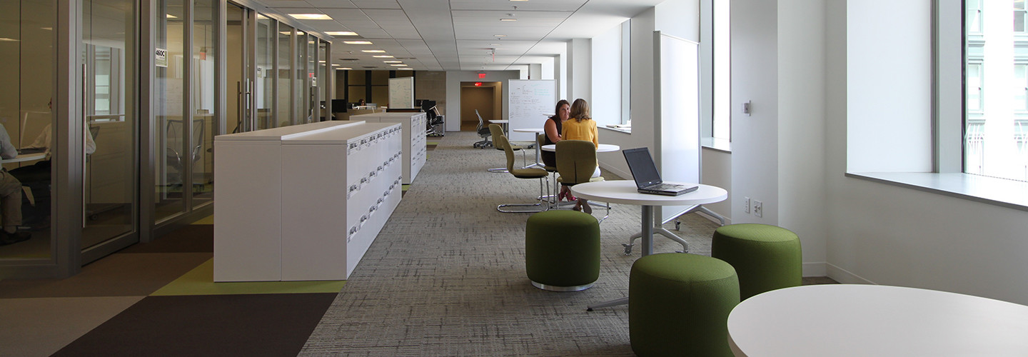 Remodeled open workspaces inside the General Services Administration headquarters in Washington, D.C.