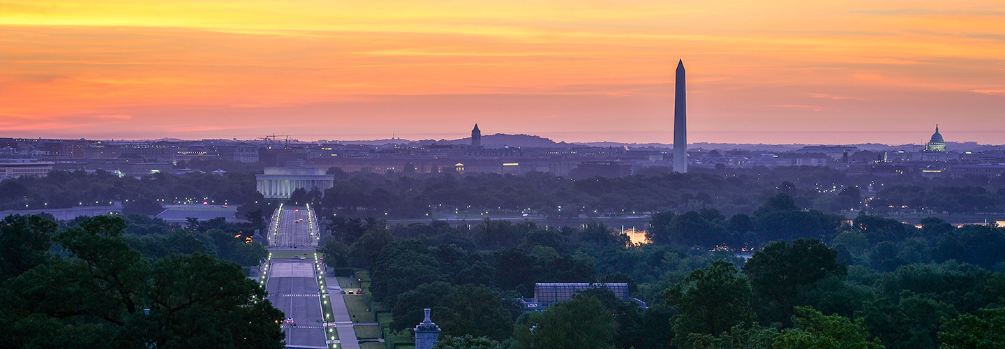 A view of Washington, DC, at sunrise from Arlington, Virginia