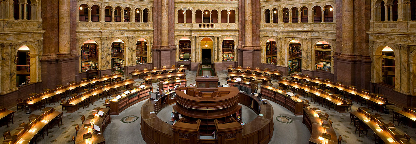 The Main Reading Room of the Library of Congress in the Thomas Jefferson Building