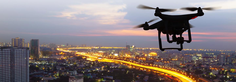 Drones in a city