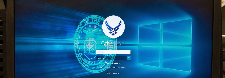 Air Force logo on a computer login screen