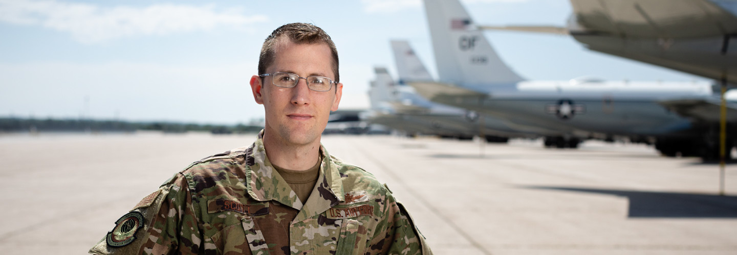 """We got personnel working again  within 96 hours  of the flood starting."" — Maj. Mike Scott,  55th Communications  Squadron, Offutt Air Force  Base, Nebraska"