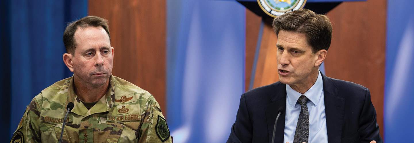 Defense Department CIO Dana Deasy, right, and Air Force Lt. Gen. Jack Shanahan, director of the Joint Artificial Intelligence Center, host a roundtable discussion on the enterprise cloud initiative with reporters at the Pentagon, Aug. 9, 2019.