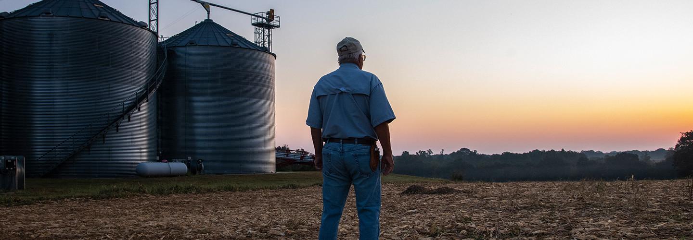 Farmer near silos gazing into a sunset
