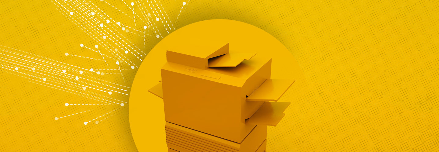 printer on yellow background