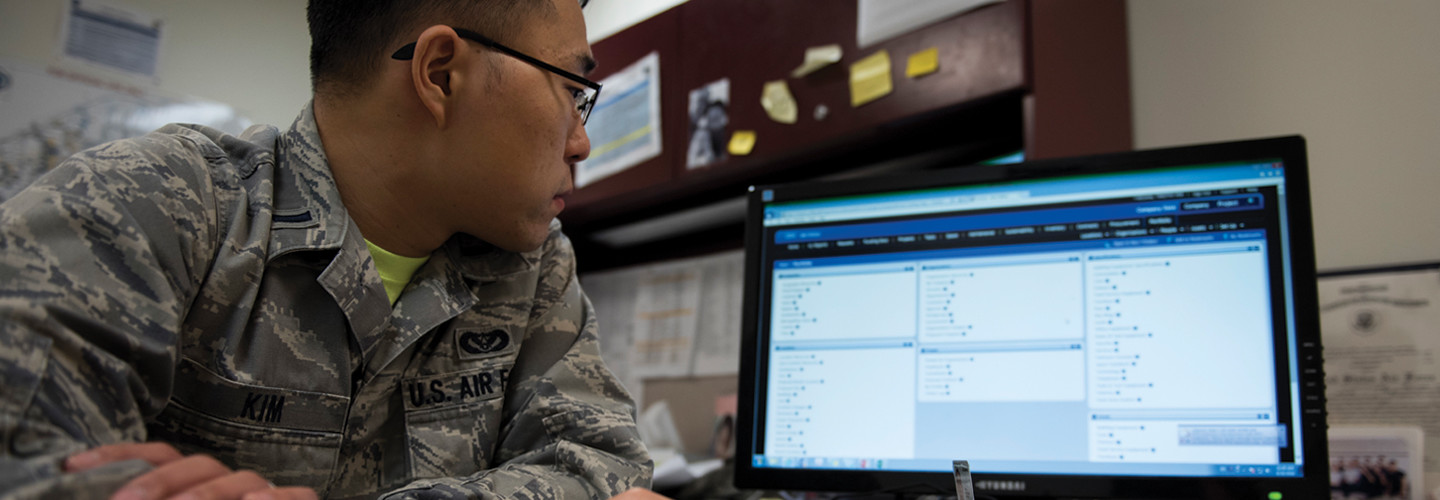 1st Lt Timothy Kim, 11th Civil Engineer Squadron installation Tririga information owner, poses for a photo while working with the next generation of information technology system, Tririga