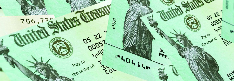 pile of U.S. Treasury checks