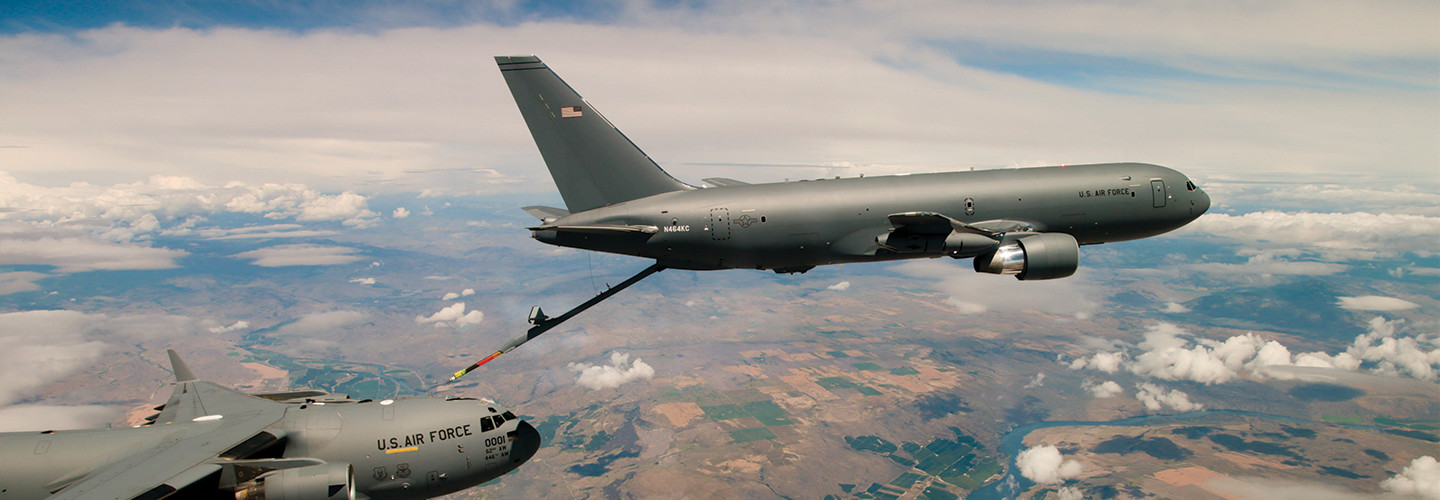 A KC-46 Pegasus refueling tanker conducts receiver compatibility tests with a C-17 Globemaster III from Joint Base Lewis-McChord.
