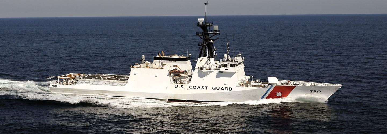 Coast Guard ship in the ocean