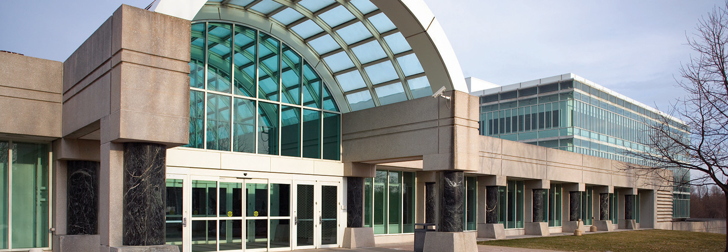 The entrance to the CIA New Headquarters Building of the George Bush Center for Intelligence in Langley, Va.