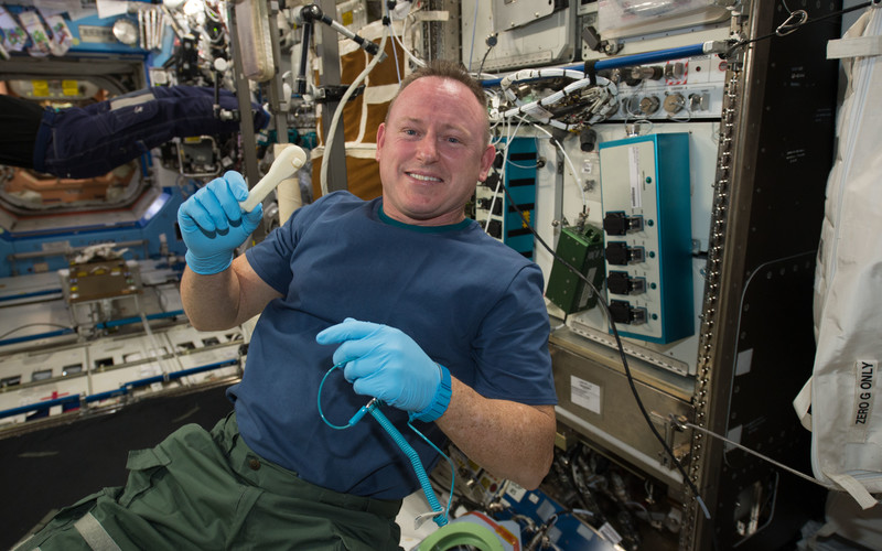 Astronauts also use a 3D printer to create tools on the spo