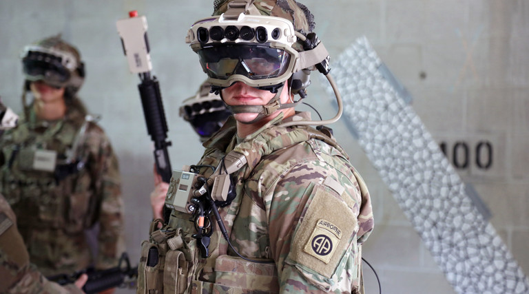Soldier wearing augmented reality goggles