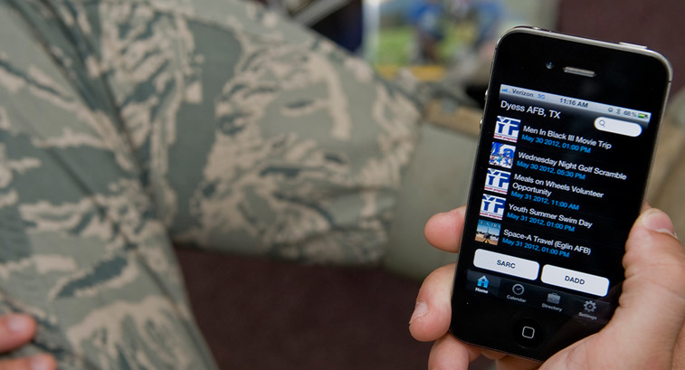 Soldier using a smartphone