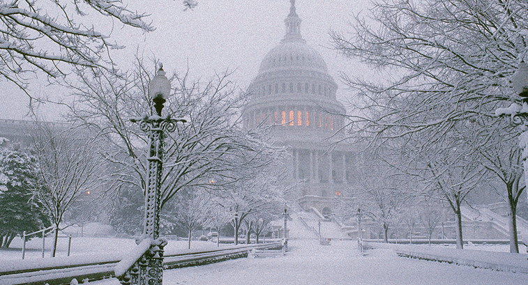 Capitol building in the winter snow