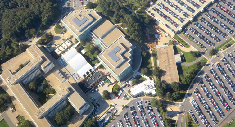 Aerial view of CIA headquarters in September 2018