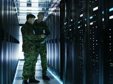 Army officers in a data center