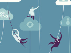 Cloud computing illustration with little men singing from cloud to cloud on ropes
