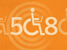 Handicapped icon graphic on an orange background