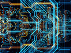 Network conceptual image on a circuit board with blue and orange lines