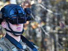 A student in the Marine Corps infantry officer course uses the Office of Naval Research-funded Augmented Immersive Team Trainer (AITT) during testing held at Quantico, Va.