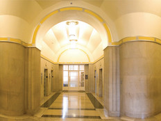 Hallways converge on the fifth floor at the 5500 and 5600 corridor inside the Robert F. Kennedy Building, headquarters of the Justice Department.