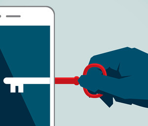 Mobile security illustration of a hand with a key reaching into a smartphone
